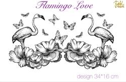 Paku Malzeme - Mesh Stencil; Flamingo Love