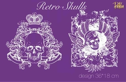 Paku Malzeme - Mesh Stencil; Retro Skulls
