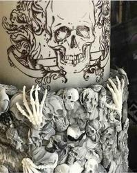 Paku Malzeme - Mesh Stencil; Retro Skulls (1)