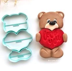 Paku Malzeme - Plastik kalıp Love Puzzle Ayıcık; 15,5*10 cm
