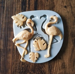 Paku Malzeme - Silikon kalıp Flamingo&Monstera; 10,5*10 cm