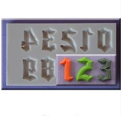 Paku Malzeme - Silikon kalıp Gotik küçük harfler ve sayılar; 15,2*10,6 cm (1)