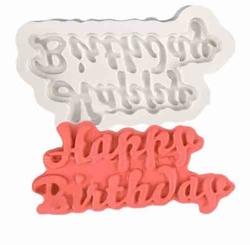 Paku Malzeme - Silikon kalıp Happy Birthday küçük; 7,4*3,8 cm
