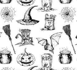 Paku Malzeme - Mesh Stencil Crystal Collection; Halloween Background (36*18 cm) (1)