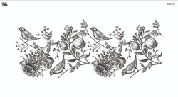 Paku Malzeme - Mesh Stencil Crystal Collection; Pomegranade Branch (33*13,5 cm)