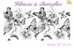 Paku Malzeme - Mesh Stencil; Hibiscus & Butterflies