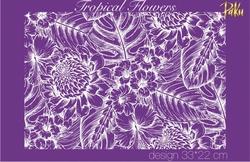 Paku Malzeme - Mesh Stencil; Tropical Flowers
