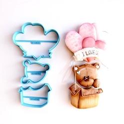 Paku Malzeme - Plastik kalıp Ayıcık Kalpli Balon; 18,5*9,5 cm