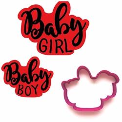 Paku Malzeme - Plastik kalıp Baby Girl/Baby Boy; 9*7,5 cm
