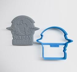 Paku Malzeme - Plastik kalıp HAPPY HALLOWEEN; 7,8*7,0 cm