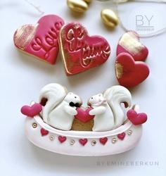 Paku Malzeme - Plastik kalıp Kanoda Aşık Sincaplar; 12*7,2 cm (1)