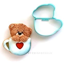 Paku Malzeme - Plastik kalıp Teddy in a Cup Ayıcık; 9,8*8,5 cm