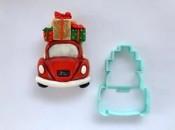 Paku Malzeme - Plastik kalıp Yılbaşı Arabası; 10,4*8 cm