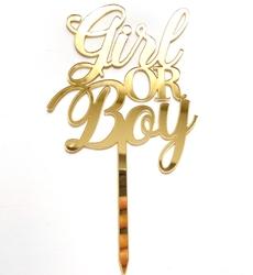 Diğer - Pleksi pasta süsü GIRL or BOY Gold;10*18 cm