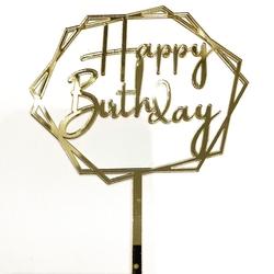 Diğer - Pleksi pasta süsü HAPPY BIRTHDAY-2 Gold;13*17 cm