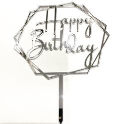 Diğer - Pleksi pasta süsü HAPPY BIRTHDAY-2 Gümüş;13*17 cm