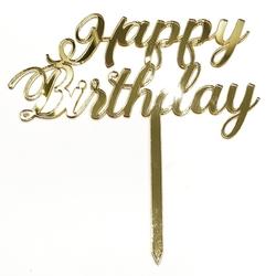 Diğer - Pleksi pasta süsü HAPPY BIRTHDAY-3 Gold;14*16 cm