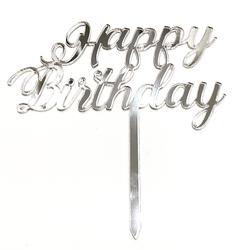 Diğer - Pleksi pasta süsü HAPPY BIRTHDAY-3 Gümüş;14*16 cm