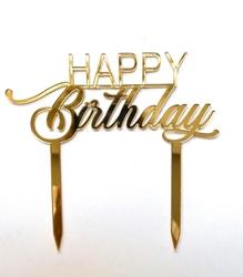 Diğer - Pleksi pasta süsü HAPPY BIRTHDAY-4 Gold;15*18 cm