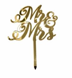 Diğer - Pleksi pasta süsü MR&MRS-2 Gold;12*16 cm