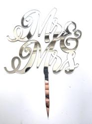 Diğer - Pleksi pasta süsü MR&MRS-2 Gümüş;12*16 cm