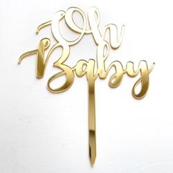 Diğer - Pleksi pasta süsü OH BABY Gold;13*16 cm