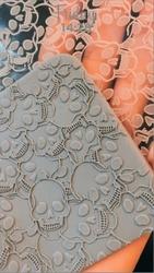 Paku Malzeme - Pop-it stamp kaşe ENGRAVED SKULL TEXTURE Kurukafa doku; 10,0*10,0 cm