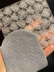 Paku Malzeme - Pop-it stamp kaşe Monstera doku; 10,0*10,0 cm