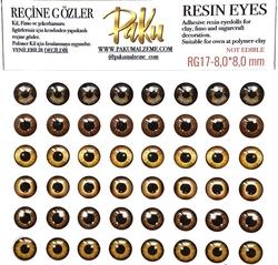 Paku Malzeme - Reçine Gözler Realistic Kahve; 8,0*8,0 mm (1)