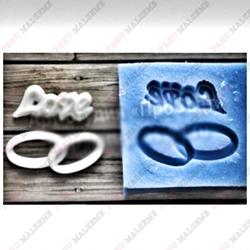 Paku Malzeme - Silikon kalıp Alyans ve Love; 4*3,8 cm