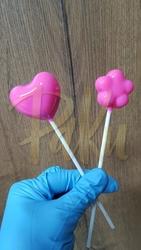 Diğer - Silikon kalıp Lolipop kalpli ve çiçekli; 15*15 cm (1)