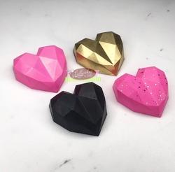 Paku Malzeme - Silikon kalıp Elmas Kalp Polygonal Heart; 4,3*4,3 cm (1)