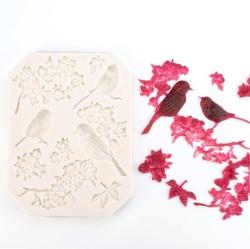 Paku Malzeme - Silikon Kuş ve Çiçek doku; 12,0*9,0 cm
