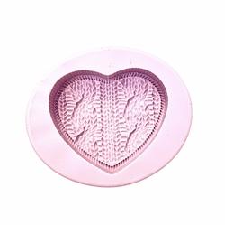 Paku Malzeme - Silikon Örgülü Kalp; 6,5*6,0 cm