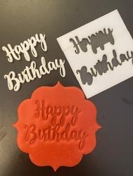 Paku Malzeme - Stamp kaşe HAPPY BIRTHDAY; 7*7 cm