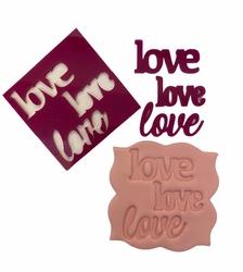 Paku Malzeme - Stamp kaşe LOVE LOVE LOVE; 7*7. cm