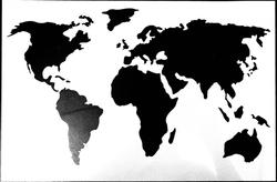 Paku Malzeme - Stencil Dünya Haritası; 30*20 cm
