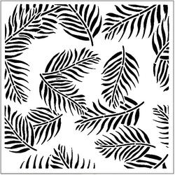 Paku Malzeme - Stencil Palmiye Yaprakları-2; 20*20 cm