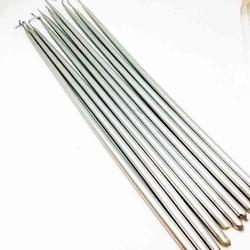 Diğer - Uzun ince mum GÜMÜŞ 30 cm; 8'li paket